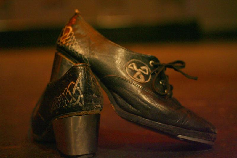 These irish dancing shoes await the performer to fill them.