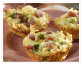 Ham and Noodle tarts