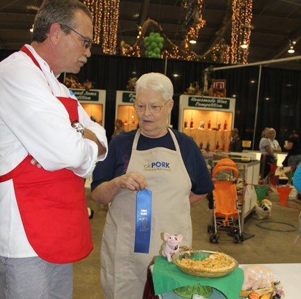 Recipe contest winner with a judge