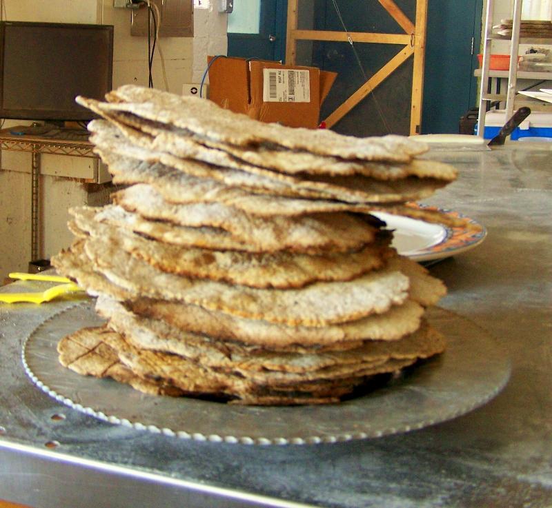 Finished matzah baked at Bobolink