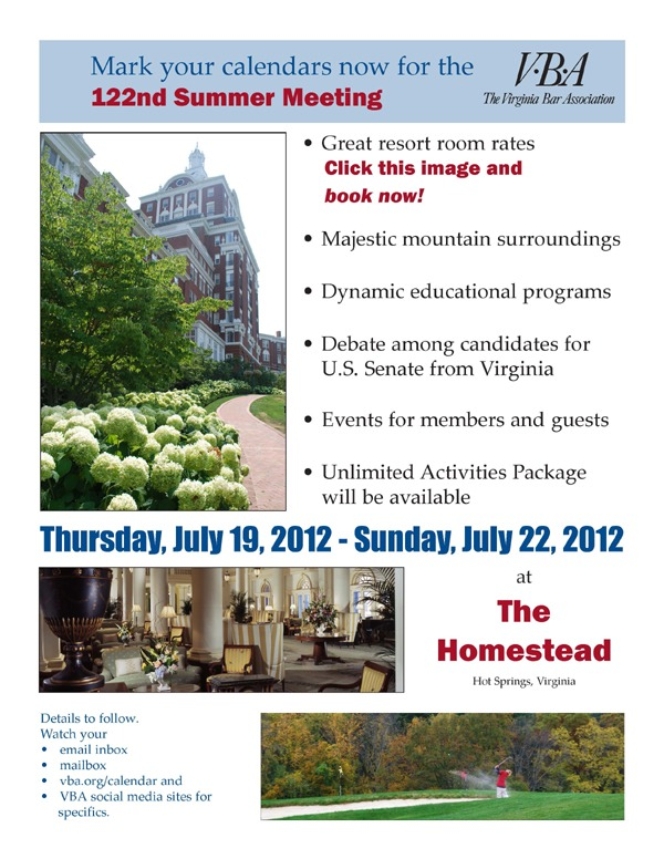 VBA Summer Meeting reminder: July 19-22, 2012