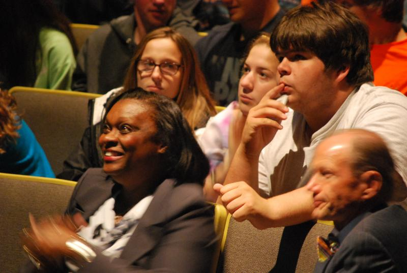 Mills Godwin H.S. students  ponder Rule of Law Program questions.
