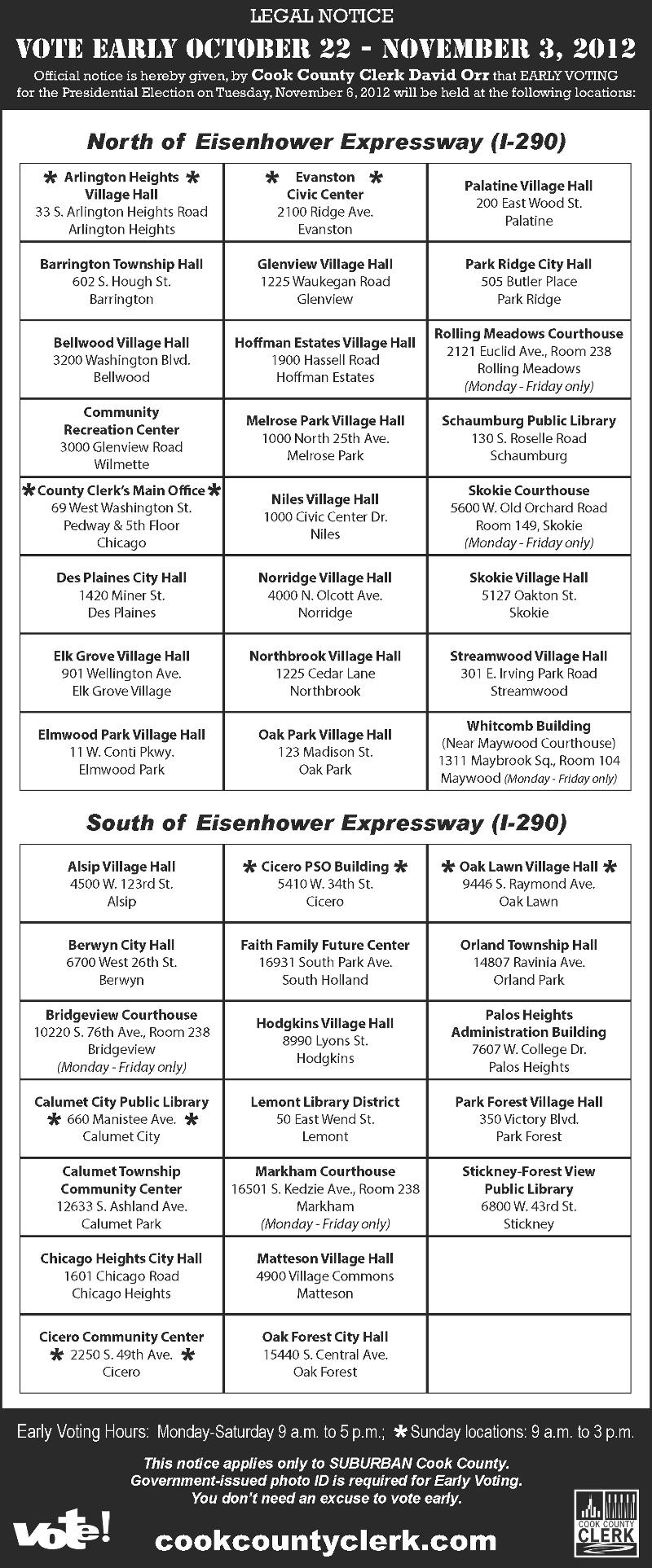 Early Voting locations in Cook County