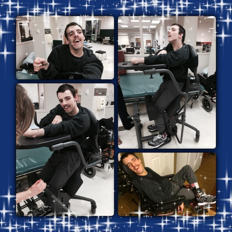 four pictures of Nick doing physical therapy and smiling.