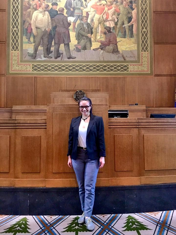 Leilani Ganser at the Oregon Capitol on the house of representatives floor