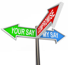 3 arrows that say 1. your say, 2. my say, 3. compromise.