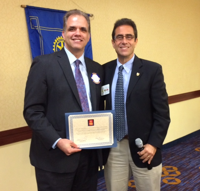 Matt at Rotary Luncheon with Greg Martini the current president.