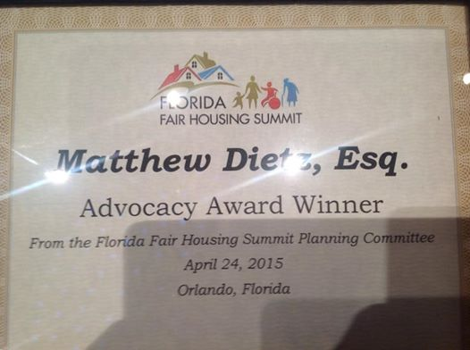 Matthew Dietz' Advocacy Award from the Florida Fair Housing Summit