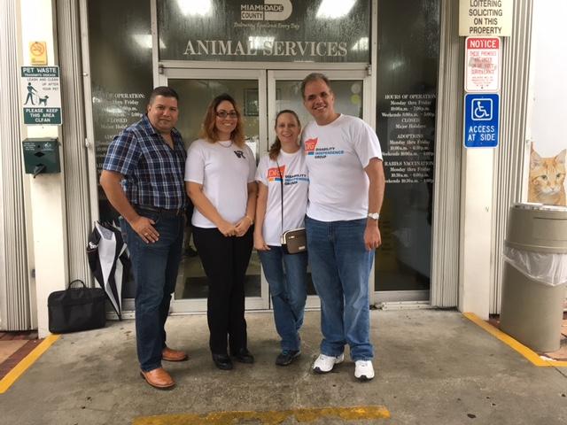 Edgardo, Brenda, Debbie, and Matt in front of Animal Services