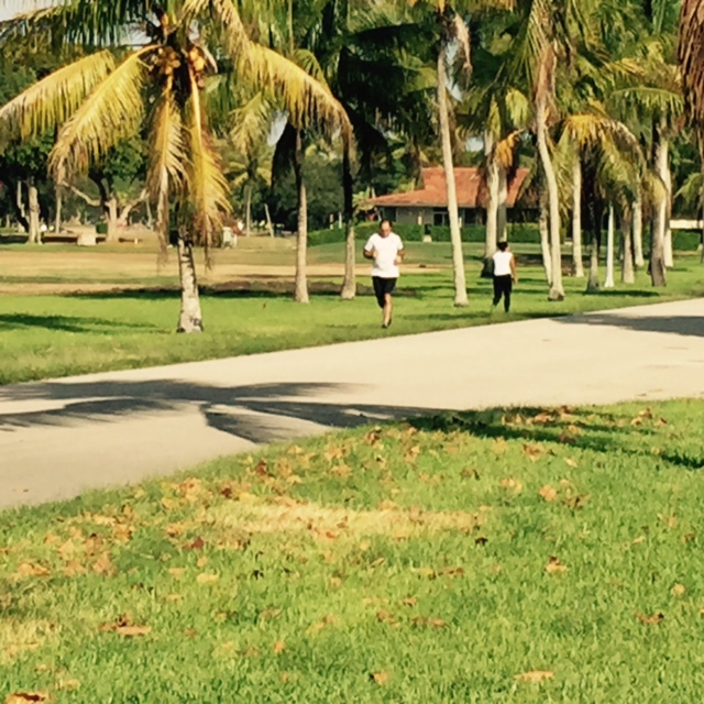People running along the dirt path of the city golf course