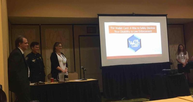 Matt, Lt. Barta, Dr. Adreon, and Debbie speaking at the ASA Conference with a powerpoint presentation about the wallet card project.