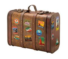 clip art of a suitcase covered in travel stickers