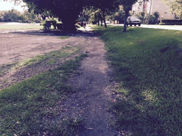 The dirt paths along the public city golf course
