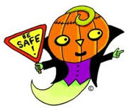 clip art of a flying ghost with a pumpkin head holding a sign that says be safe