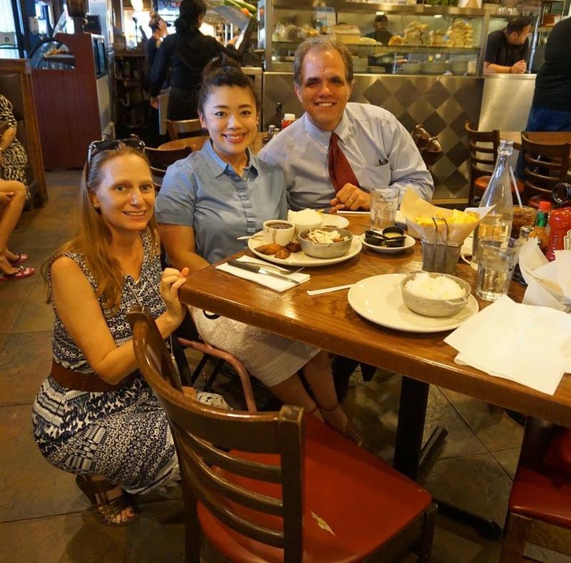 Debbie, Mizuki Hsu, and Matt eating dinner at Sergios Restaurant in Miami, FL.