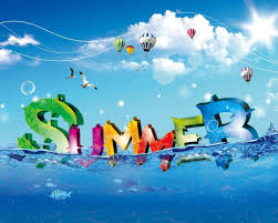 the word summer is spelled out and floating in the water with hot air balloons in the air.