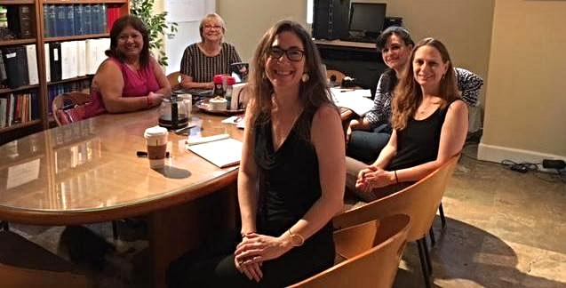 Susan Rubio Rivera_ Sharon Langer_ Ana Lorenzo Vega_ Debbie Dietz_ and Liese Brown _Brenda Rivera not pictured_ at working meeting on the intersection of disability and domestic violence-sexual assault.