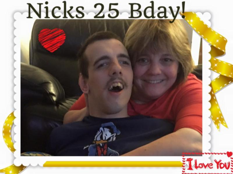 Julie hugging Nick for his 25th birthday.