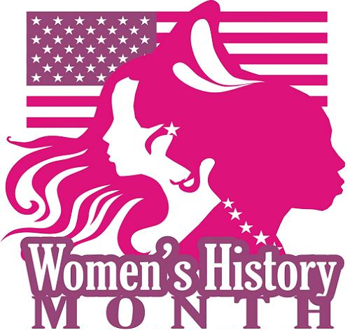 Logo for women's history month.  an American flag in the background with the silhouette of two women and then the words women's history month