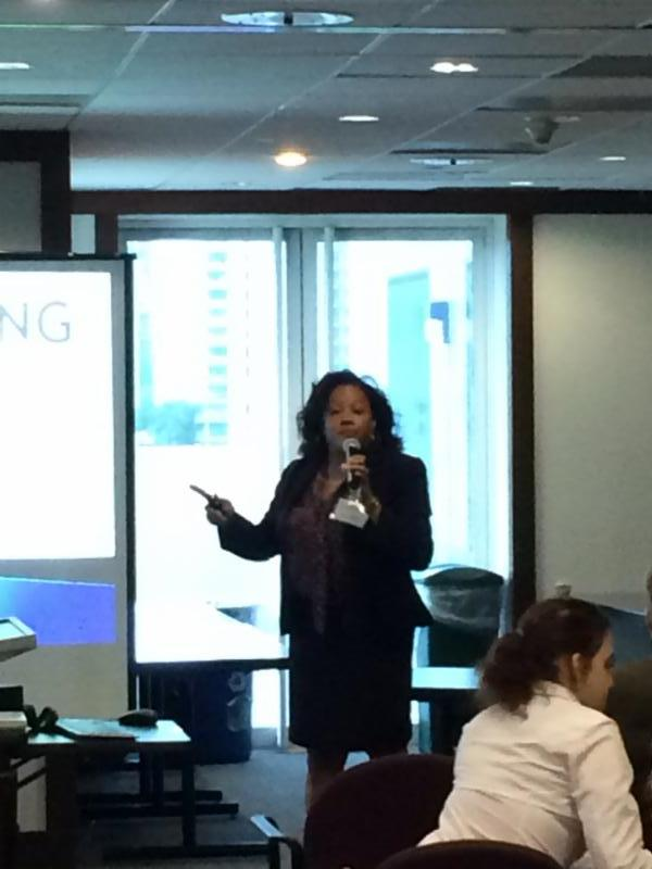 Keenya Robertson speaking about the fair housing act at our ABC's of assistance animals training.