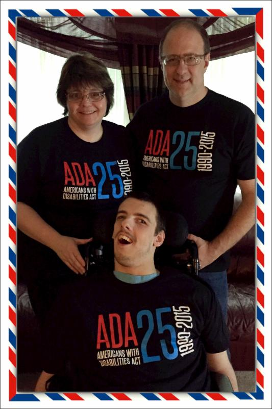 Nick and his parents wearing their ADA shirts