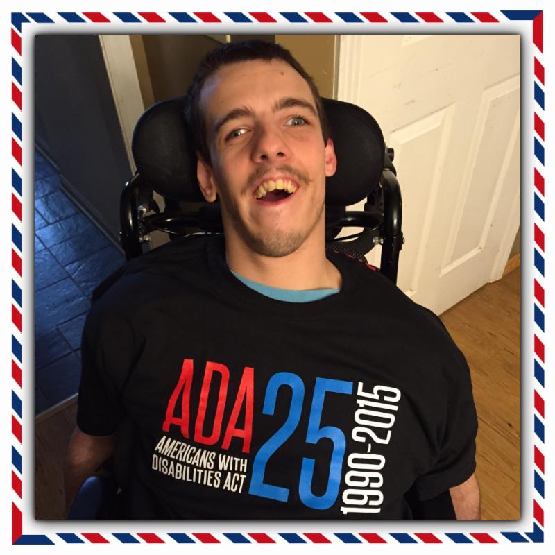 Nick wearing his ADA shirt