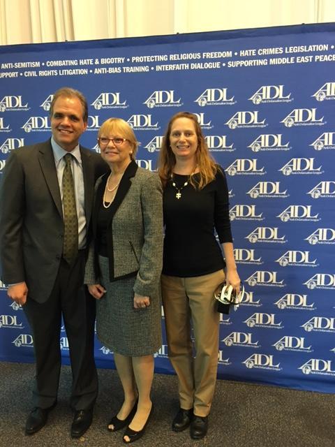 Matthew Dietz, Sharon Langer, and Debbie Dietz standing at the ADL Luncheon