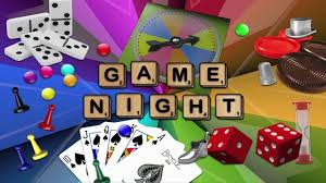 clip art of game night with pictures from famous games like scrabble, dominoes, cards, and dice.