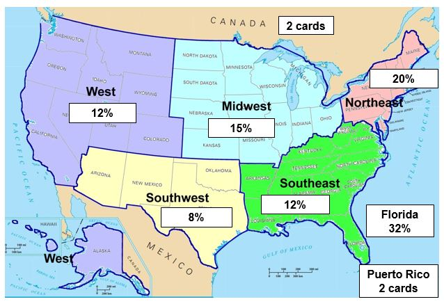 Map of the United States with the percentage of wallet cards written on top of each region