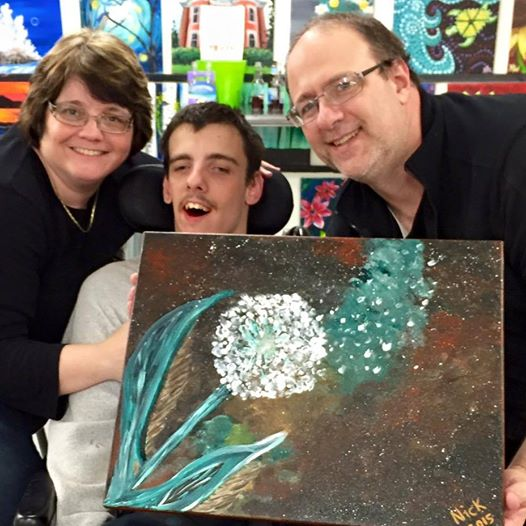 Nick, Julie, and Alex with the final painting