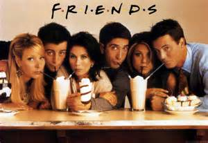 the actors from the TV show FRIENDS sipping ice cream sodas