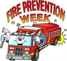 logo for fire prevention week. with a smiling fire truck