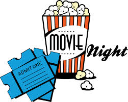 clip art of a movie ticket, and movie popcorn.