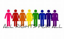 clip art of colorful men and women standing next to each other holding hands with the words all rights for all