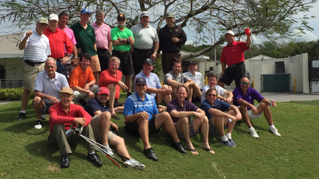 Lester with 21 of his golf friends