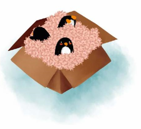 A colored drawing of an open box with 3 small penguins surrounded by stuffing.
