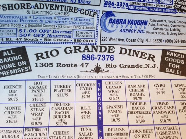Menu from Rio Grande Diner