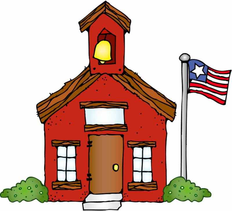 cartoon of a school house with an Americana flag on the left.