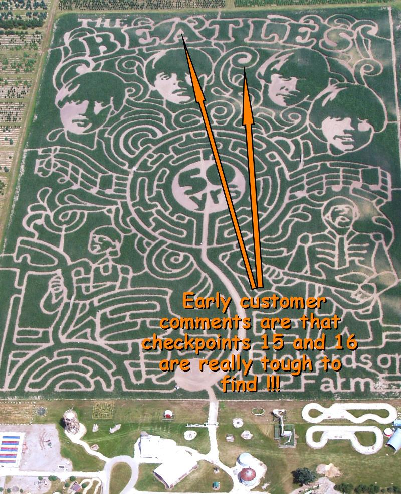 difficult checkpoints in Beatles maze