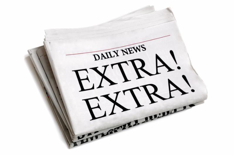 Newspaper headline Extra Extra isolated on white background