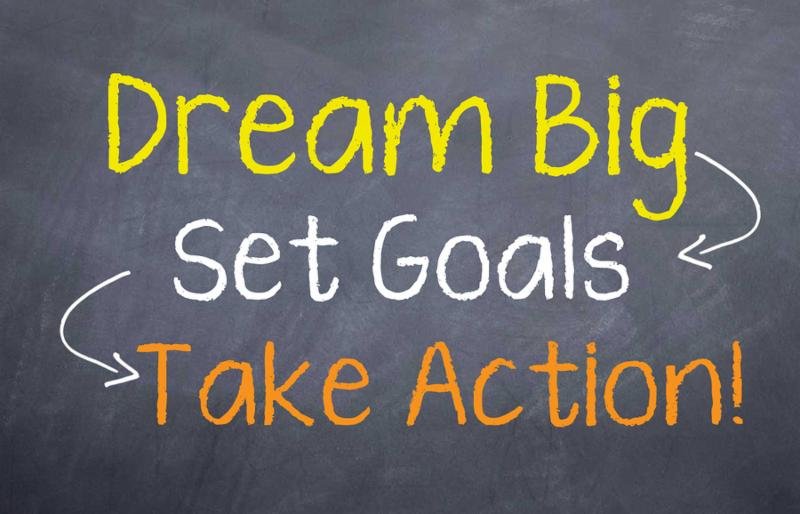 Motivational saying that you need to aim big and take action to achieve your goals