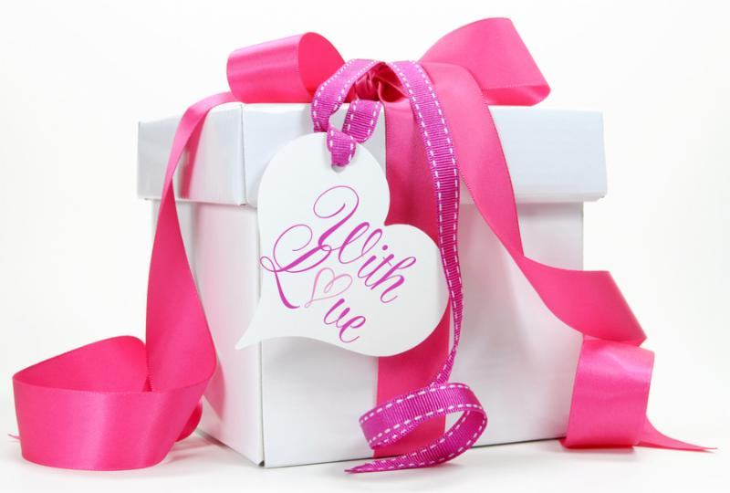 Beautiful pink and white gift box present for Christmas Valentine birthday wedding or mothers day...