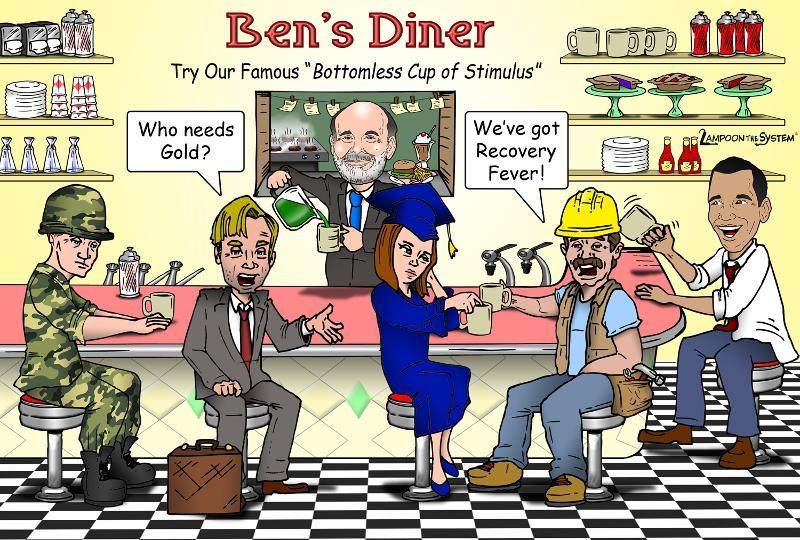 Cartoon: Chairman Bernanke serves up endless QE at Ben's Diner