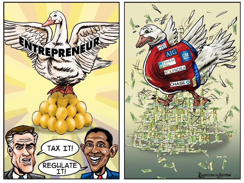 Lampoon the System's Golden Egg Cartoon