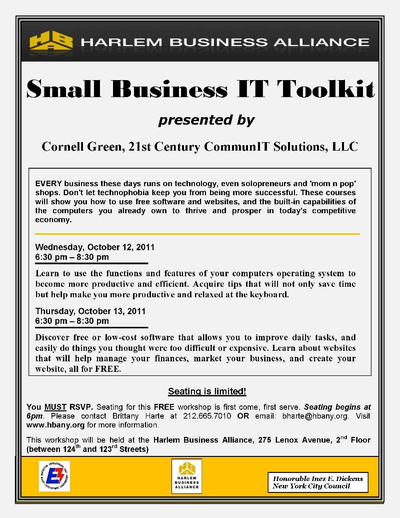 Small Business IT Toolkit 10-12-11 & 10-13-11