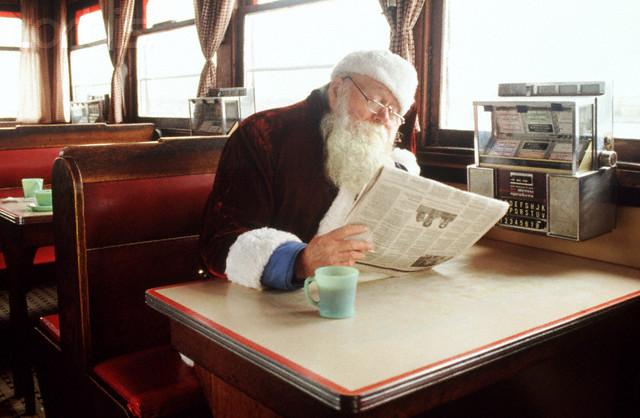 Santa Reading Newspaper