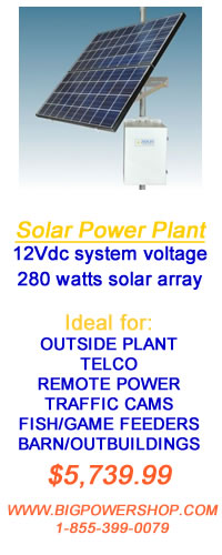 Solar power plant. Outside power for traffic lights and cameras, Telco installations, Barn lighting, Power feeders and boat houses.