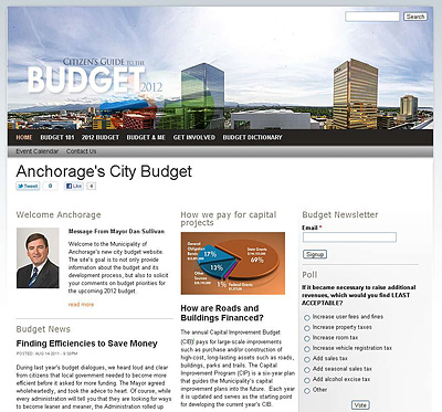 budget website homepage