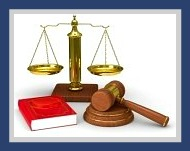 Legal gavel, scales, books