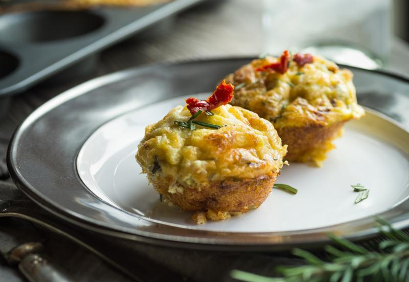 Breakfast treat with savory egg muffin bites with sundried tomato